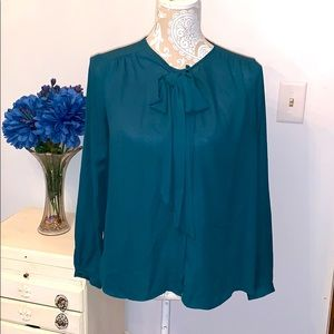 Zara green bow tie blouse